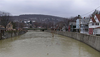 Hornell, New York - Canacadea Creek, a tributary of the Canisteo River in a residential neighborhood of Hornell.