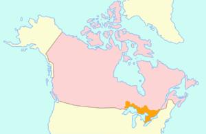 Family Compact - Map of Upper Canada (orange) within British North America (pink)