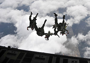 Canadian Special Operations Regiment - Members of the regiment during a freefall jump out of a U.S. Air Force C-17 Globemaster III during Emerald Warrior 2013, Hurlburt Field, Florida.
