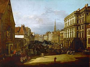 Piano Concerto No. 20 (Mozart) - Neuer Markt in Vienna with Capuchin Church and Haus zur Mehlgrube on the right, painting by Bernardo Bellotto, 1760