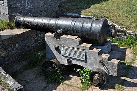An 18 pounder cannon; William Belford used ten of these to fire on the castle Cannon at Berry Head.jpg