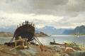 Carl Frederik Sørensen - Ved et norsk skibsværft - 1872.png