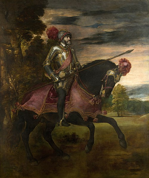 Titian's Equestrian Portrait of Charles V (1548) celebrates the Emperor's victory over the Protestants at the Battle of Muhlberg (1547) Tizian 082b.jpg