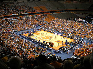 Syracuse Orange men's basketball - View of the Carrier Dome in its basketball configuration. View from Section 307, Row U.
