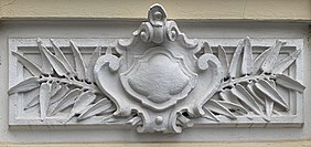 Cartouche on the house with number 9, on the Doctor Dimitrie D. Gerota street from Bucharest (Romania).jpg
