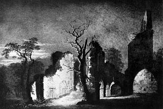 Westfassade der Ruine Eldena mit Backhaus und Scheune