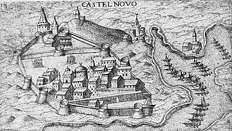 Siege of Castelnuovo - View of Castelnuovo in the 16th century. Engraving of an unknown 17th-century artist.