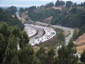 Castro Valley, California - Interstate 580, with BART tracks in the center, near Castro Valley.