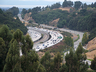 Castro Valley, California - Interstate 580, with BART tracks in the center, near Castro Valley.
