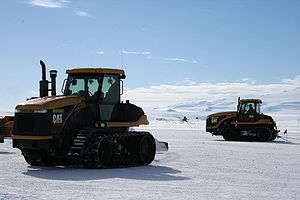 Williams Field - Caterpillar Challenger machines perform constant runway grooming