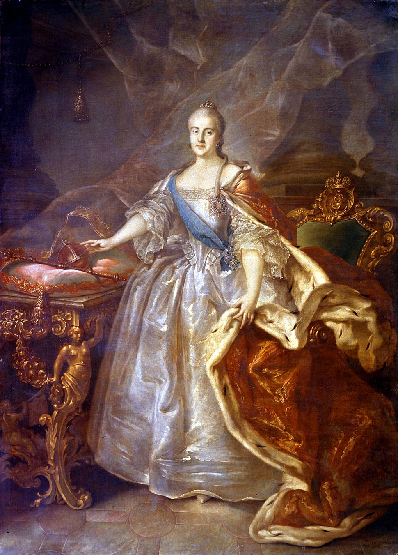 Catherine II by I.Argunov (1762, Russian museum)