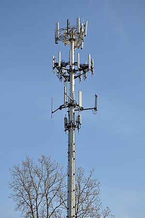A cell phone tower in Palatine, Illinois, USA.