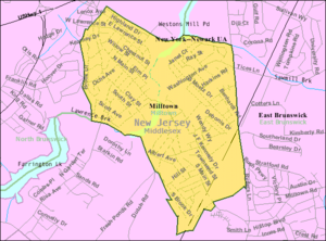 Milltown, New Jersey - Image: Census Bureau map of Milltown, New Jersey