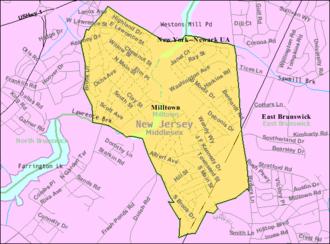 Milltown, New Jersey - Image: Census Bureau map of Milltown, New Jersey