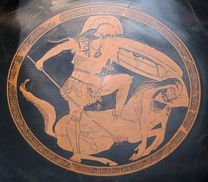 Centaur - Centauromachy, tondo of an Attic red-figure kylix, ca. 480 BC