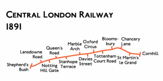 Oxford Circus tube station - Route diagram showing the original route between Shepherd's Bush and Cornhill (Bank).