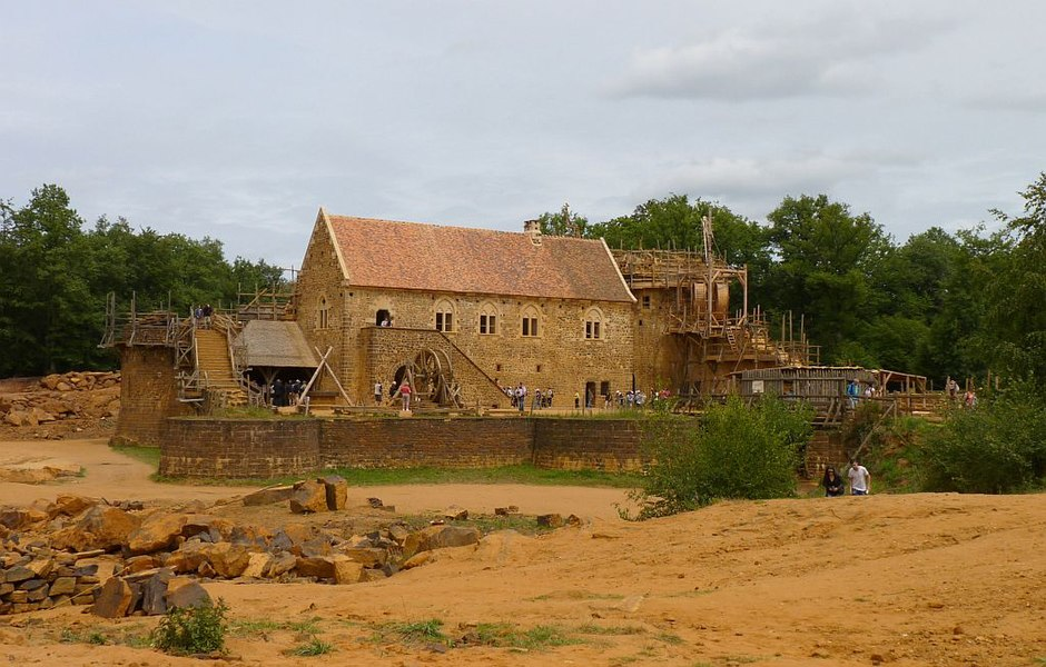 The construction of Guédelon Castle in France in 2011, using medieval techniques. Read more: Guedelon