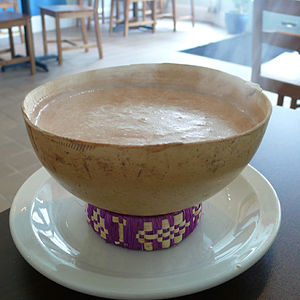 Champurrado - Hot bowl of champurrado as served at a Mexican breakfast