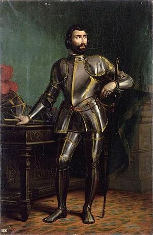 Italian War of 1521–26 - Imaginative portrait of Charles III, Duke of Bourbon, by Bernard Gaillot (1835). Alienated from Francis, Bourbon betrayed him and allied himself with Charles V.