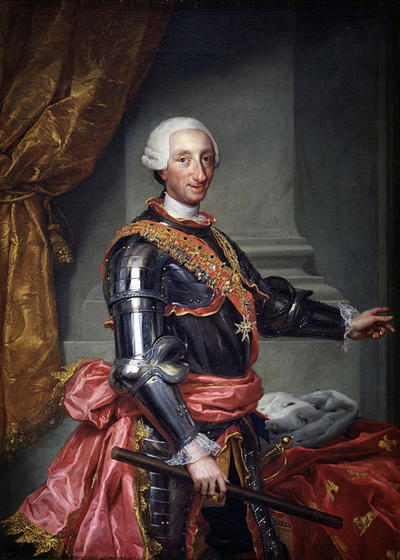 Charles III of Spain, who ordered the expulsion of the Jesuits from Spanish realms Charles III of Spain high resolution.jpg