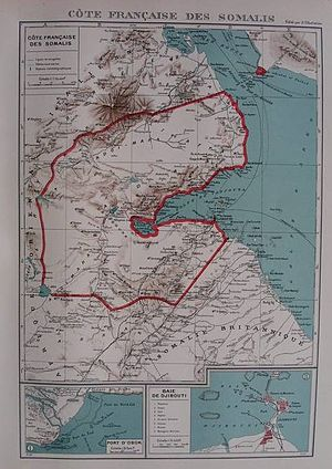 Franco-Italian Agreement of 1935 - Map showing the new Italian Eritrea-French Somaliland border as per the Laval-Mussolini Accord of January 1935. The coast of French Somalia was reduced south until the Bab-el-Mandeb strait