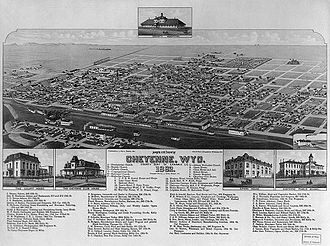 Cheyenne, Wyoming - Bird's-eye view of Cheyenne, 1882