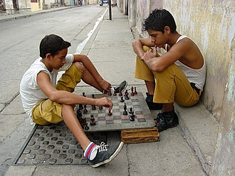 Santiago de Cuba - Boys playing chess