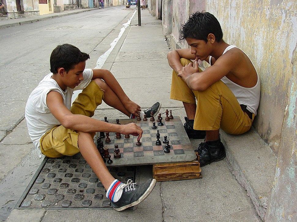 Children Playing Chess on the Street - Santiago de Cuba - Cuba