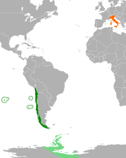 Map indicating locations of Chile and Italy