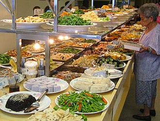Vegetarianism by country - Vegetarian restaurant buffet, Taipei, Taiwan