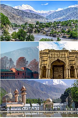 Clockwise from top: view of Chitral valley and snowcapped peak of Tirich Mir, Chitral's Shahi Qilla, Shahi Mosque, Chitral Fort