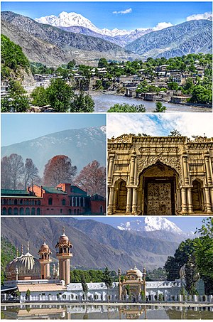 Chitral - Clockwise from top: view of Chitral valley and snowcapped peak of Tirich Mir, Chitral's Shahi Qilla, The Shahi Mosque, Chitral Fort