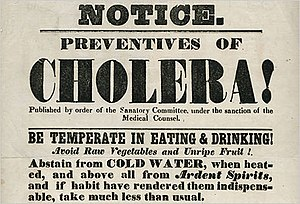 1829–51 cholera pandemic - Hand bill from the New York City Board of Health, 1832. The outdated public health advice demonstrates the lack of understanding of the disease and its causes.
