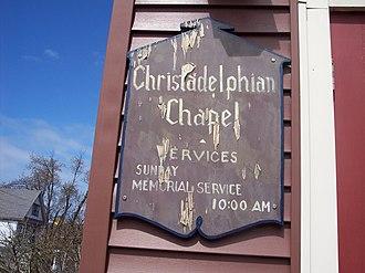 Christadelphians -  A sign showing the service times of a Christadelphian ecclesia in Buffalo, New York.