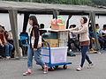 Chunghwa Post Female Officers Moving Wagon Leave Keelung Naval Pier after Event 20150316.jpg