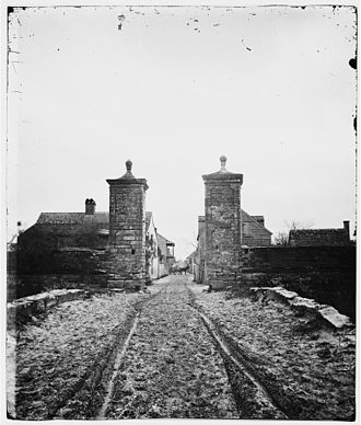 History of St. Augustine, Florida - City Gate, St. Augustine c. 1861–65 View looking into town, St. George Street