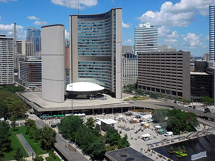 Ford served as a city councillor on Toronto City Council from 2000 to 2010. City Hall, Toronto, Ontario.jpg