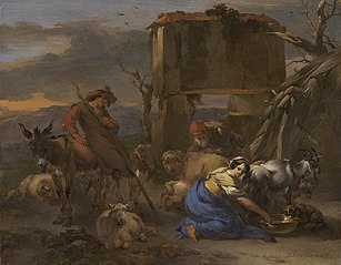 Pastoral Scene with a Shepherdess Milking a Goat