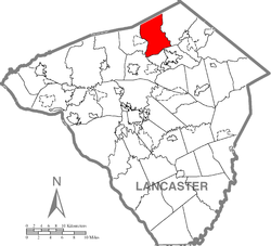Map of Lancaster County highlighting Clay Township