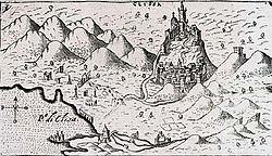 A dalmáciai Klissza vára egy 1571-es ábrázoláson