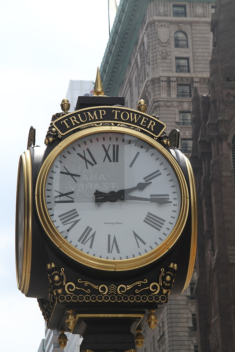 Clock in front of the Trump Tower.jpg