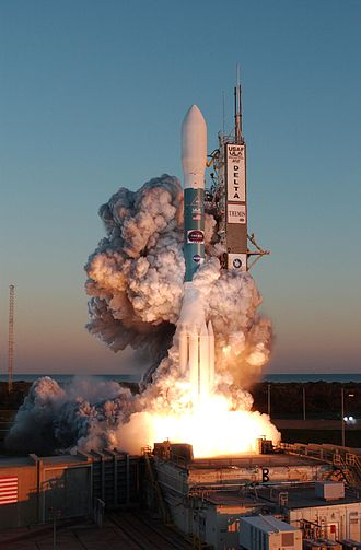 Alliant Techsystems - Clouds of smoke around the 323rd Delta rocket on launch pad 17B