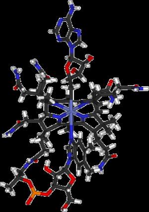 Adenosylcobalamin - Image: Cobamamide 3D sticks