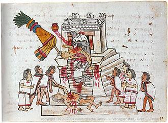 Tecpatl - Sacrifice of a war captive (Image based on the Codex Magliabechiano)