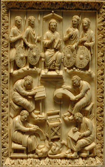 David dictating the Psalms, book cover. Ivory, end of the 10th century-11th century. Codex binding Louvre MR373.jpg