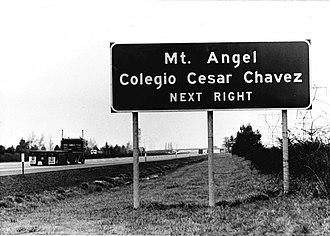 Colegio Cesar Chavez - Road sign to Colegio Cesar Chavez.
