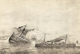 Sinking of the Chilean ironclad Blanco Encalada by a torpedo in the Battle of Caldera Bay, during the Chilean Civil War of 1891. Combate de Caldera.JPG