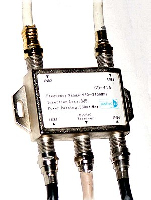 F connector - Image: Commutateur diseqc 4x 1 switch