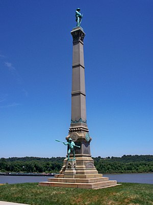 Confederate Monument in Louisville - Monument in Brandenburg, June 2017. Ohio River in background.