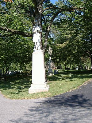 Confederate Soldier Monument in Lexington - Front view, with Ladies' Confederate Memorial in background